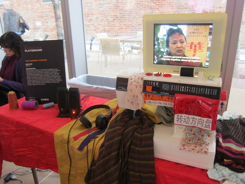 """The Garment Worker,"" an interactive media installation at the Tribeca Film Festival Interactive Showcase, 2014"