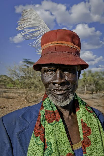 October 22nd, 2010. Turkana elder man posing for a portrait at a traditional Turkana Wedding.