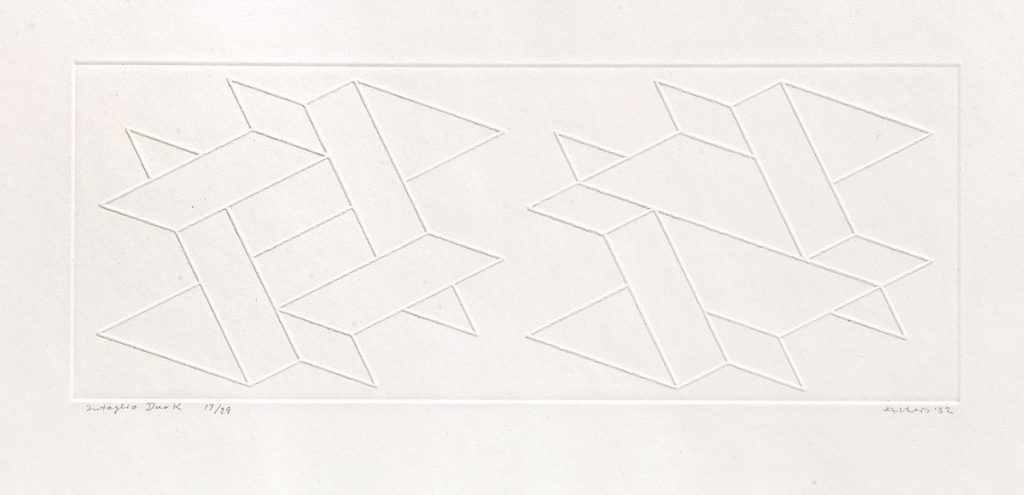 "Josef Albers, Duo K, 1962, Inkless intaglio from a brass plate, 13 5/8""x22 3/16"" (paper) 5""x14 1/2"" (print), Edition 14/29 (Reference: The Prints of Josef Albers: A Catalogue Raisonne 1915 - 1976, page 89, number 136b) Joseph Albers (1888-1976) was a German-born American artist and educator whose work, both in Europe and in the United States, formed the basis of some of the most influential and far-reaching art education programs of the twentieth century."